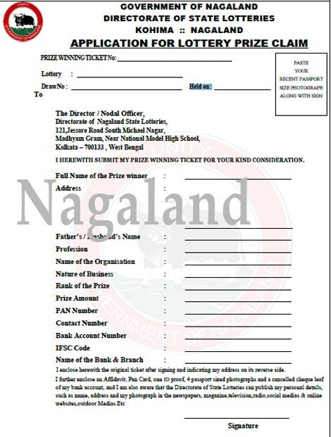 Nagaland Prize Claim Form