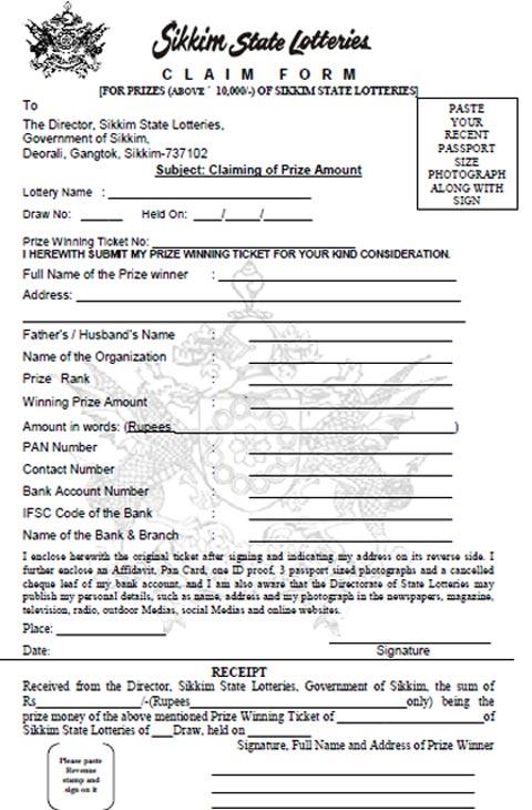 Prize Claim Form