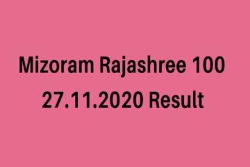 Mizoram Rajashree 100 State Lottery Sambad Result 2020