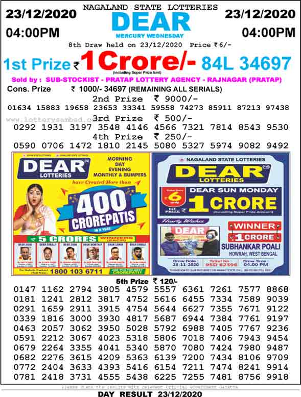 Lottery Sambad 4.00 PM REsult 23.12.2020
