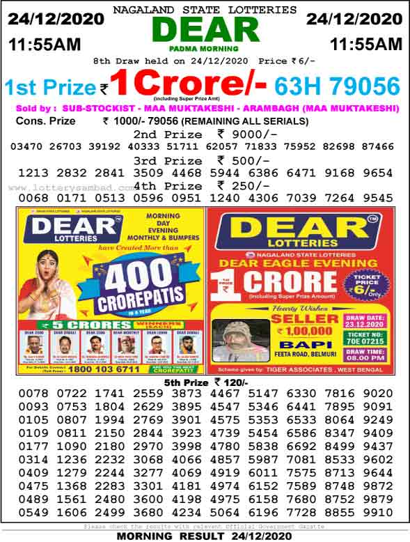 Lottery Sambad 11.55 AM Result 24.12.2020
