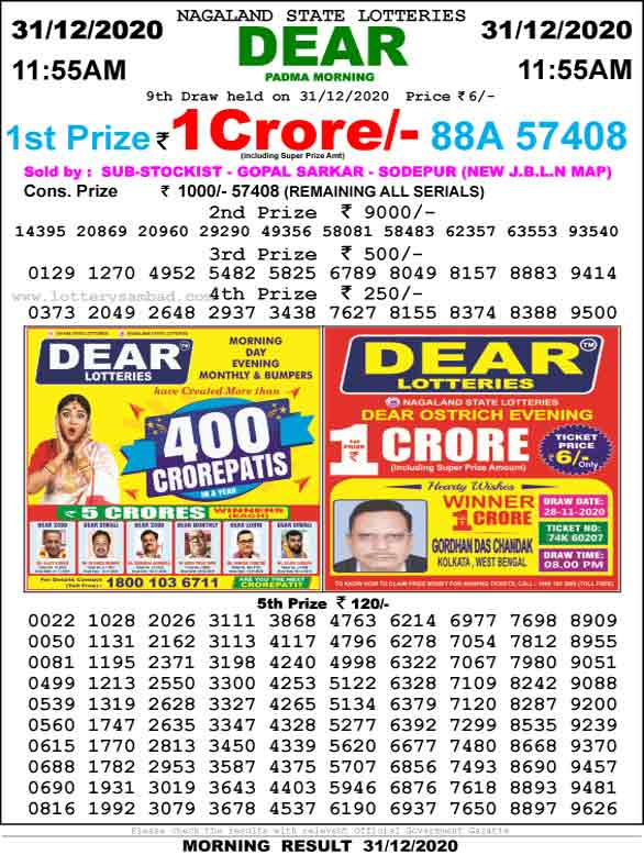 Lottery Sambad 11.55 am Result 31.12.2020