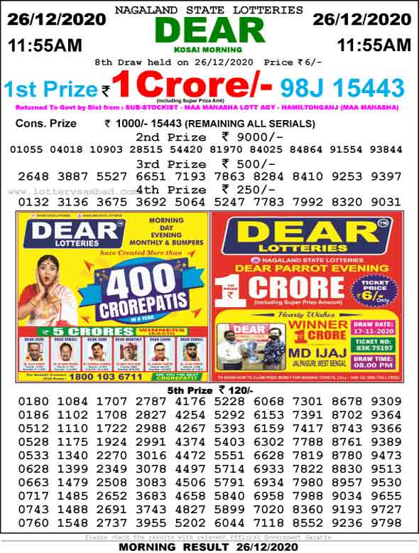Lottery Sambad 11.55 AM Result 27.12.2020