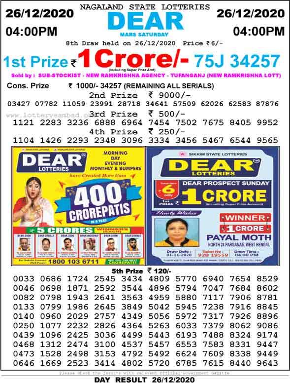 Lottery Sambad 4.00 PM Result 26.12.2020