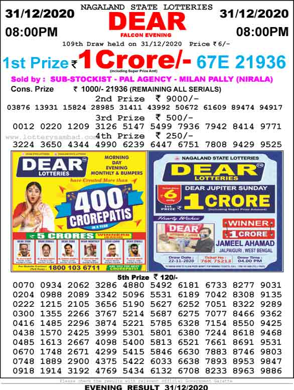 Lottery Sambad 8.00 PM Result 31.12.2020