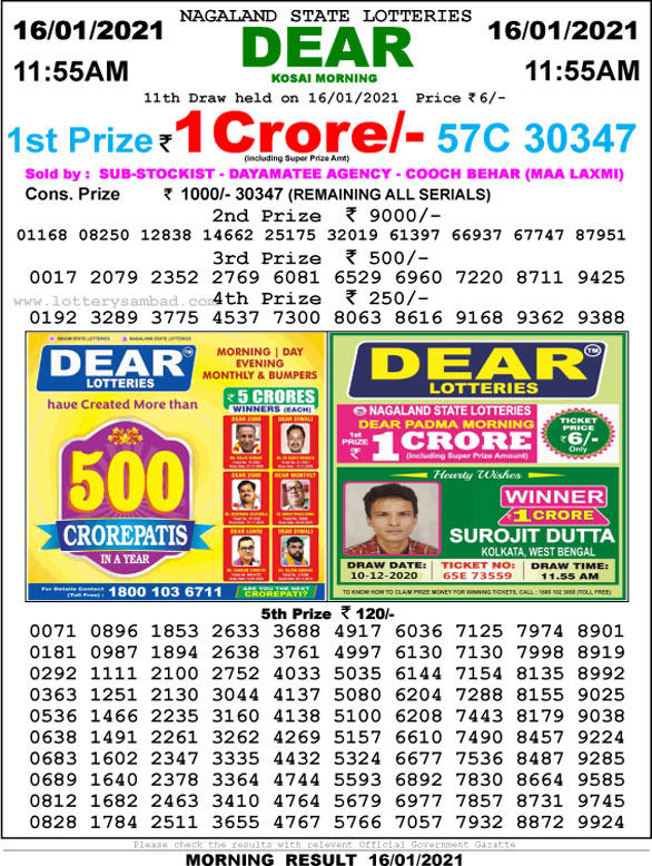 Lottery Sambad 11:55 AM Result 20.01.2021