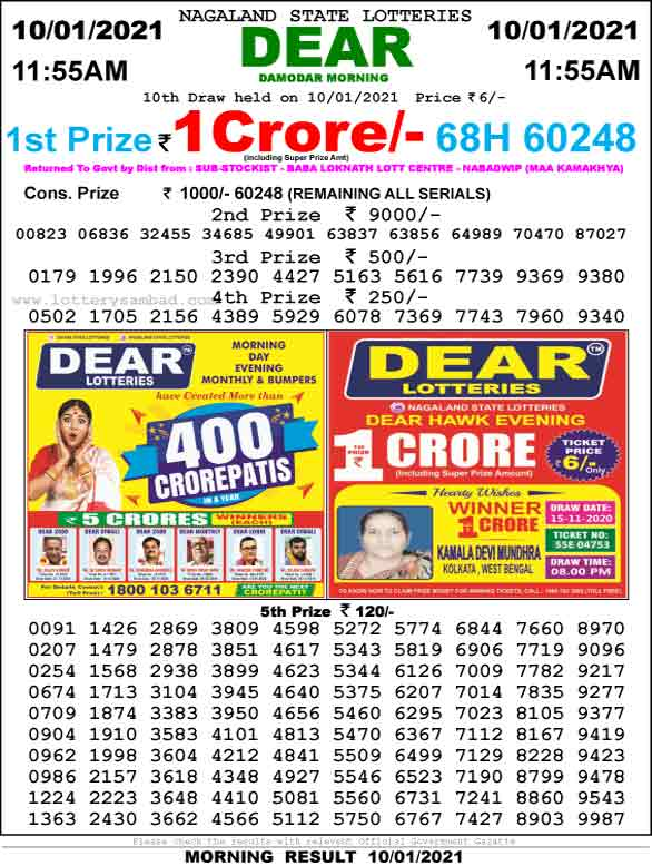 Lottery Sambad 11.55 AM Result 12.01.2021
