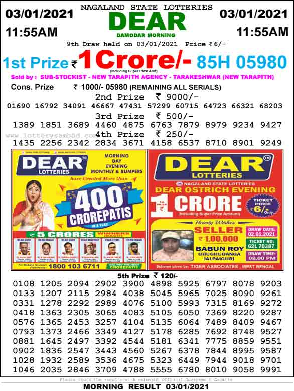 Lottery Sambad 11.55 AM Result 3.01.2021