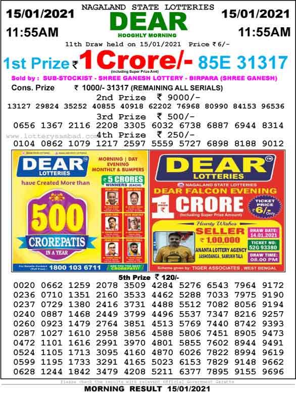 Lottery Sambad 11:55 AM Result 15.01.2021
