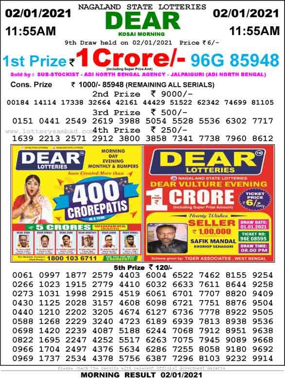 Lottery Sambad 11.55 AM Result 2.1.2021