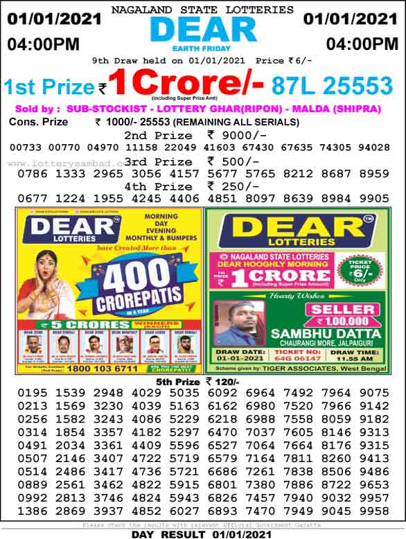 Lottery Sambad 4.00 PM Result 1.01.2020