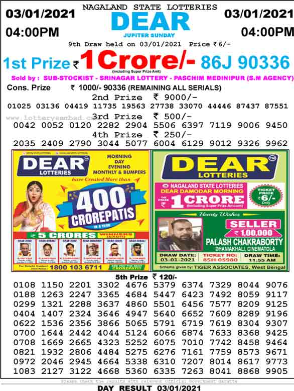 Lottery Sambad 4.00 PM Result 3.01.2021