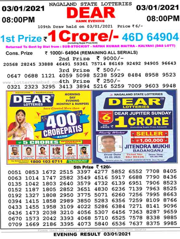 Lottery Sambad 8.00 PM Result 3.01.2021