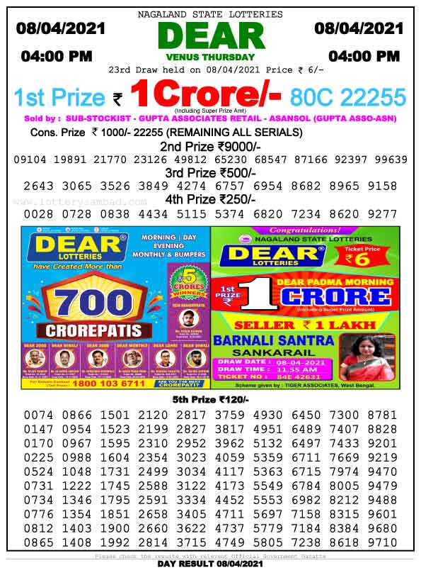 Lottery Sambad 4.00 PM Result 8.4.2021
