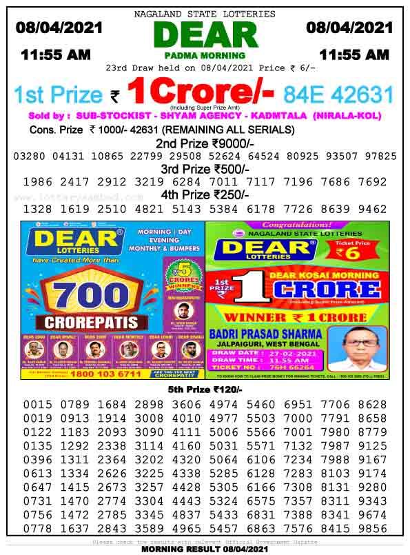 Lottery Sambad 11.55 am result 8.4.2021